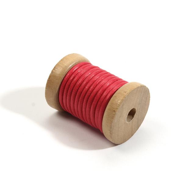 [바이핸즈] [퀼트부자재] 오시도리면가죽끈 3mm-빨강