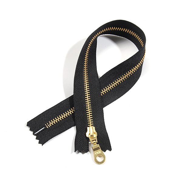 [바이핸즈] [YKK] 금색 메탈지퍼 5호(35cm)-블랙